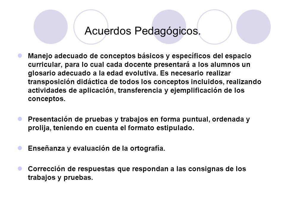 Acuerdos Pedagógicos. Manejo adecuado de conceptos básicos y específicos del espacio curricular, para lo cual cada docente presentará a los alumnos un