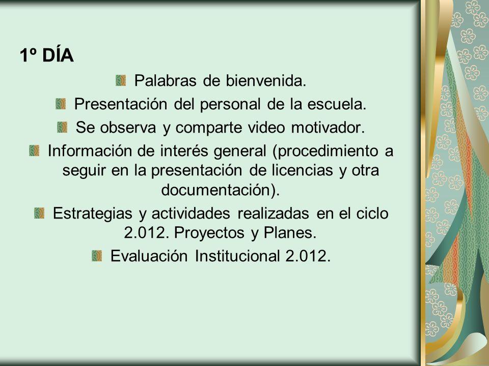 1º DÍA Palabras de bienvenida. Presentación del personal de la escuela. Se observa y comparte video motivador. Información de interés general (procedi
