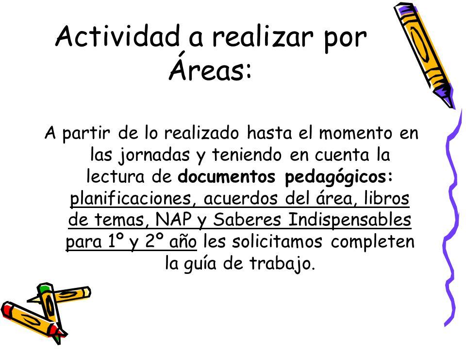 Actividad a realizar por Áreas: A partir de lo realizado hasta el momento en las jornadas y teniendo en cuenta la lectura de documentos pedagógicos: p