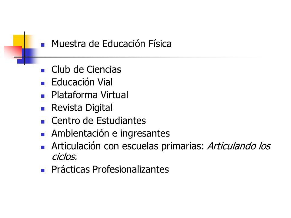 Muestra de Educación Física Club de Ciencias Educación Vial Plataforma Virtual Revista Digital Centro de Estudiantes Ambientación e ingresantes Articu