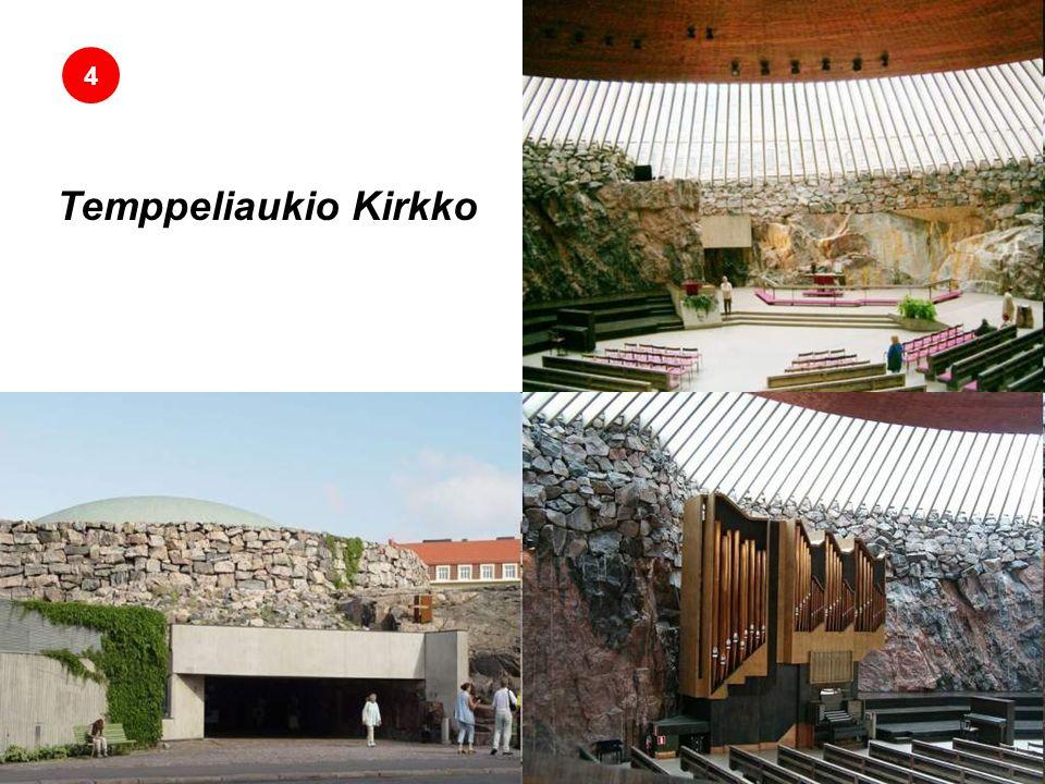 Temppeliaukio Kirkko Iglesia de la Roca 4 La Iglesia de Temppeliaukio (Temppeliaukion Kirkko en finés) es una iglesia luterana localizada en el distrito de Töölö, en Helsinki.