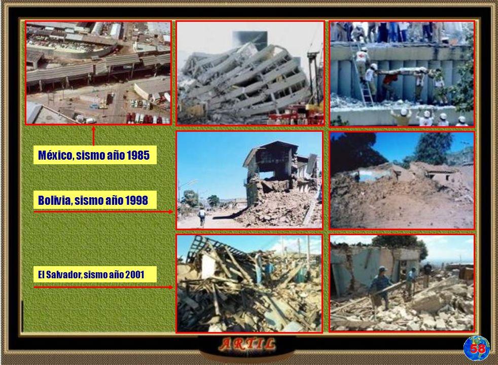 El Salvador, sismo año 2001 Bolivia, sismo año 1998 México, sismo año 1985 58