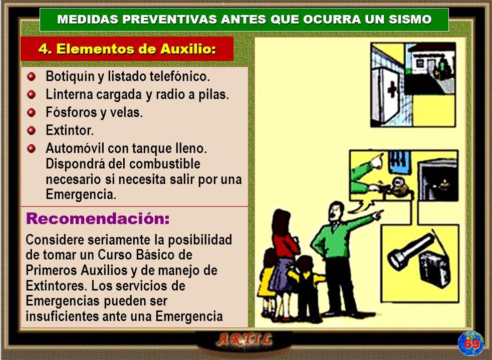 4. Elementos de Auxilio: MEDIDAS PREVENTIVAS ANTES QUE OCURRA UN SISMO Botiquín y listado telefónico. Linterna cargada y radio a pilas. Fósforos y vel