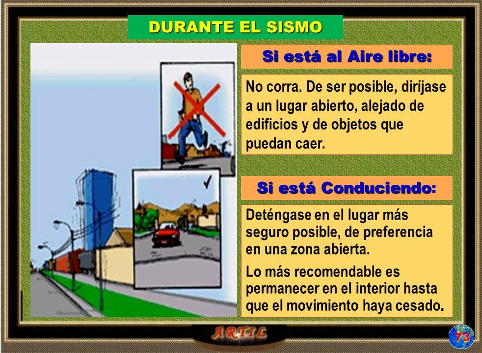 Si está al Aire libre: No corra. De ser posible, diríjase a un lugar abierto, alejado de edificios y de objetos que puedan caer. Si está Conduciendo S