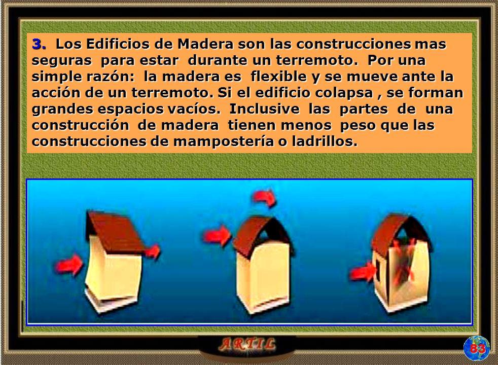 3. Los Edificios de Madera son las construcciones mas seguras para estar durante un terremoto. Por una simple razón: la madera es flexible y se mueve
