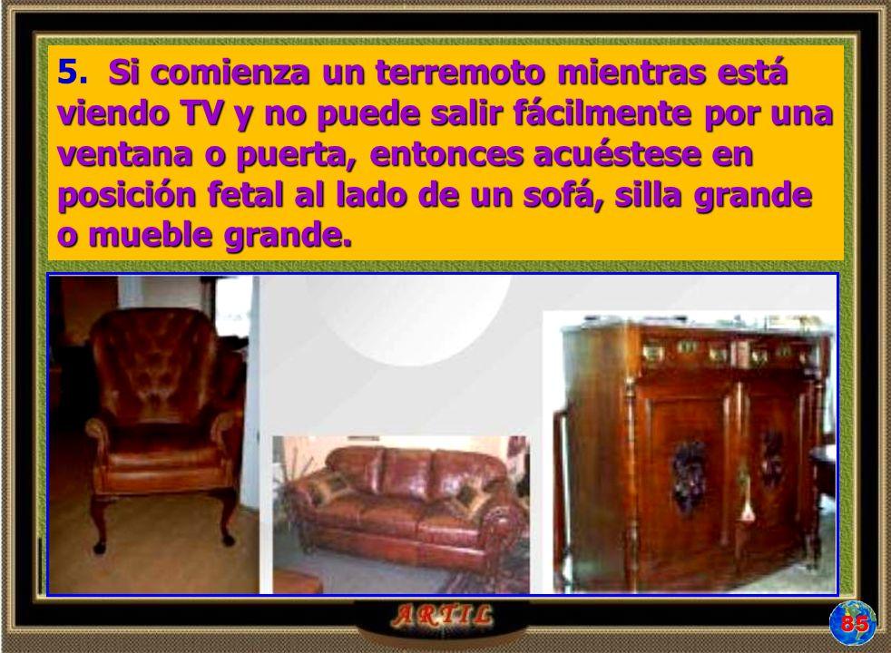 Si comienza un terremoto mientras está viendo TV y no puede salir fácilmente por una ventana o puerta, entonces acuéstese en posición fetal al lado de