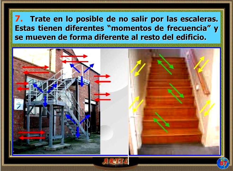 Trate en lo posible de no salir por las escaleras. Estas tienen diferentes momentos de frecuencia y se mueven de forma diferente al resto del edificio