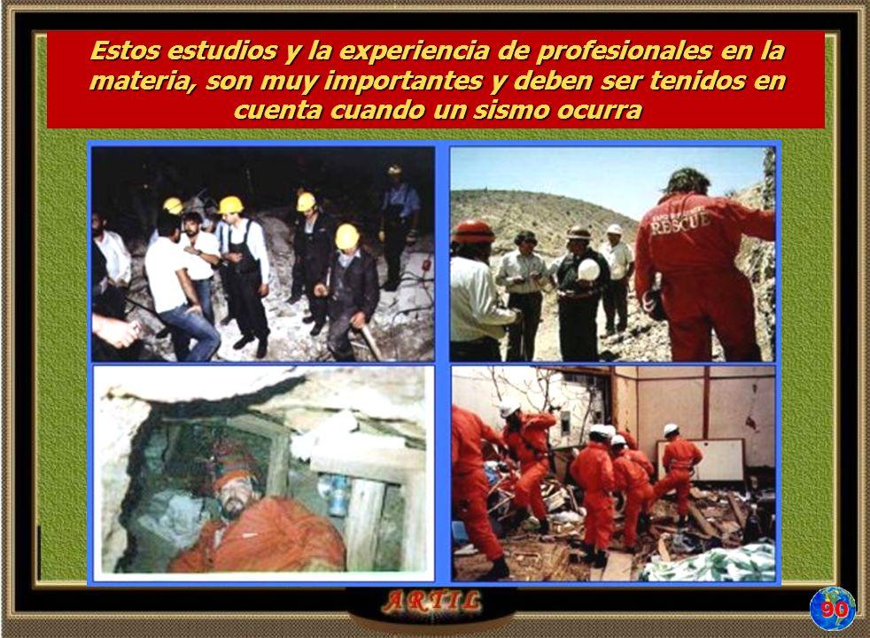 Estos estudios y la experiencia de profesionales en la materia, son muy importantes y deben ser tenidos en cuenta cuando un sismo ocurra 90