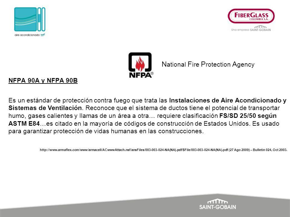 NFPA 90A y NFPA 90B Es un estándar de protección contra fuego que trata las Instalaciones de Aire Acondicionado y Sistemas de Ventilación. Reconoce qu