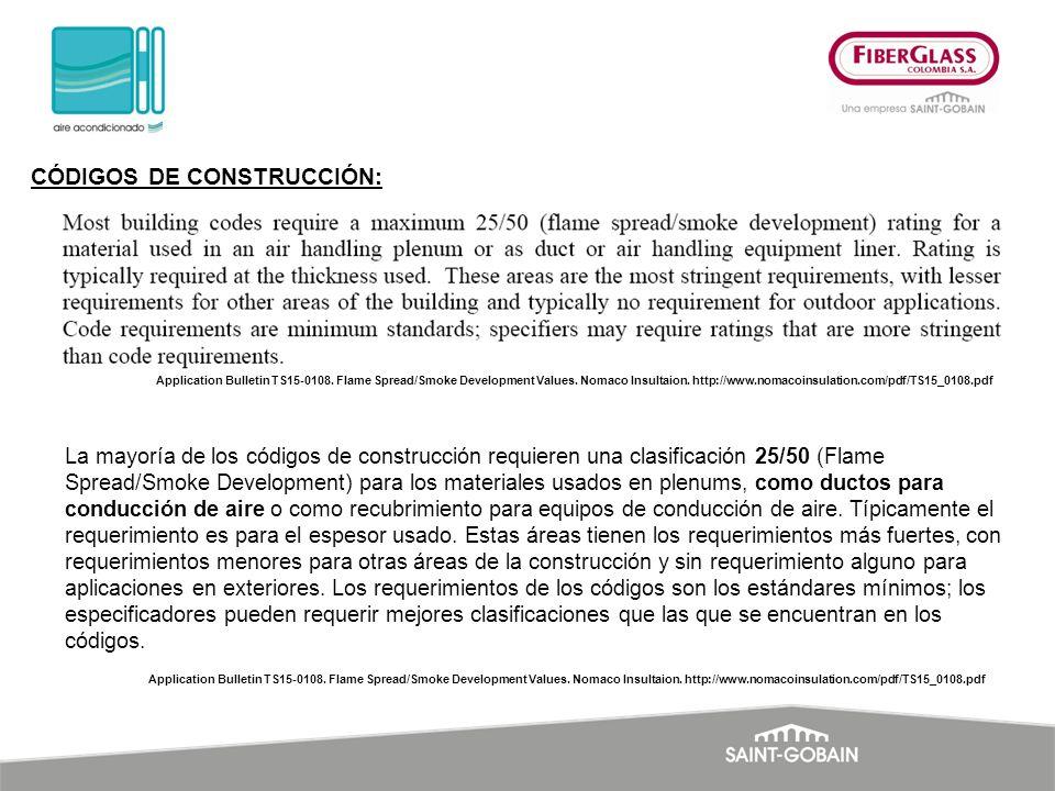 Application Bulletin TS15-0108. Flame Spread/Smoke Development Values. Nomaco Insultaion. http://www.nomacoinsulation.com/pdf/TS15_0108.pdf CÓDIGOS DE