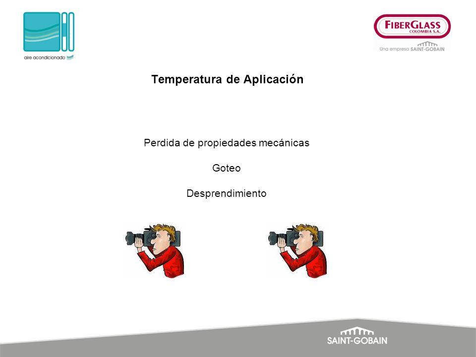 Perdida de propiedades mecánicas Goteo Desprendimiento Temperatura de Aplicación