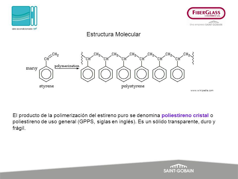 El producto de la polimerización del estireno puro se denomina poliestireno cristal o poliestireno de uso general (GPPS, siglas en inglés). Es un sóli