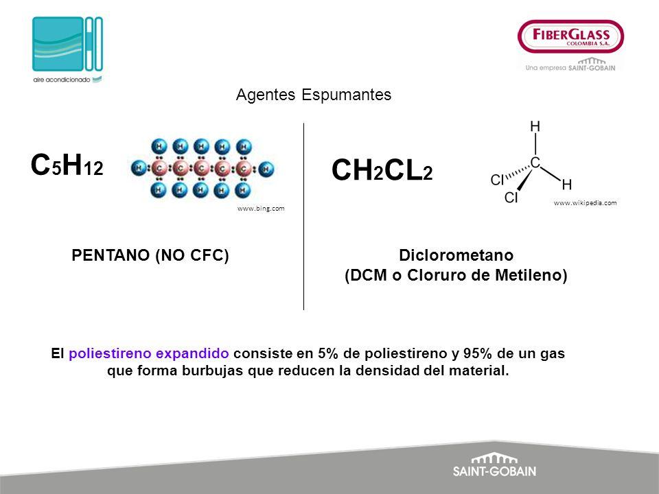 El poliestireno expandido consiste en 5% de poliestireno y 95% de un gas que forma burbujas que reducen la densidad del material. C 5 H 12 PENTANO (NO