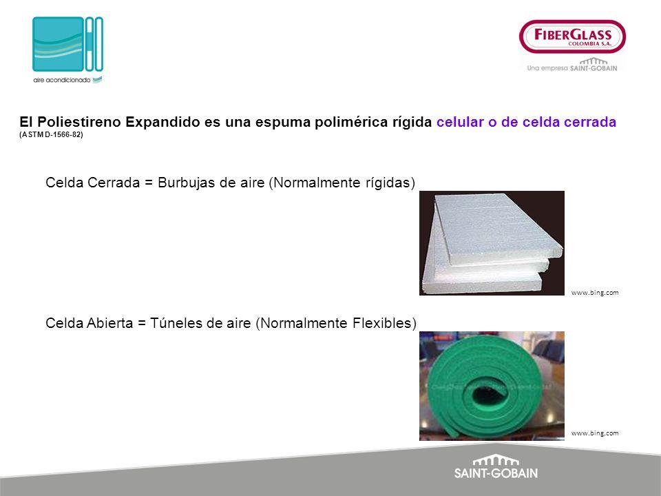 El Poliestireno Expandido es una espuma polimérica rígida celular o de celda cerrada (ASTM D-1566-82) Celda Cerrada = Burbujas de aire (Normalmente rí