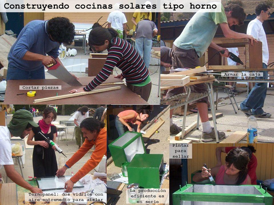 Construyendo cocinas solares tipo horno Cortar piezas Armar la caja Termopanel: dos vidrios con aire entremedio para aislar Pintar para sellar La prod