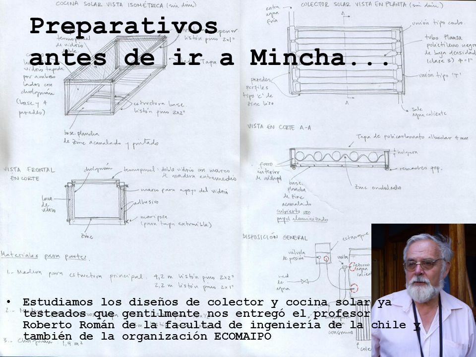 Preparativos antes de ir a Mincha... Estudiamos los diseños de colector y cocina solar ya testeados que gentilmente nos entregó el profesor Roberto Ro