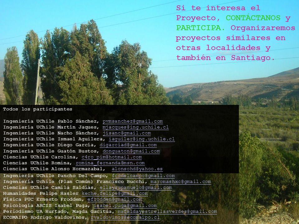 Si te interesa el Proyecto, CONTÁCTANOS y PARTICIPA. Organizaremos proyectos similares en otras localidades y también en Santiago. Algunos contactos p