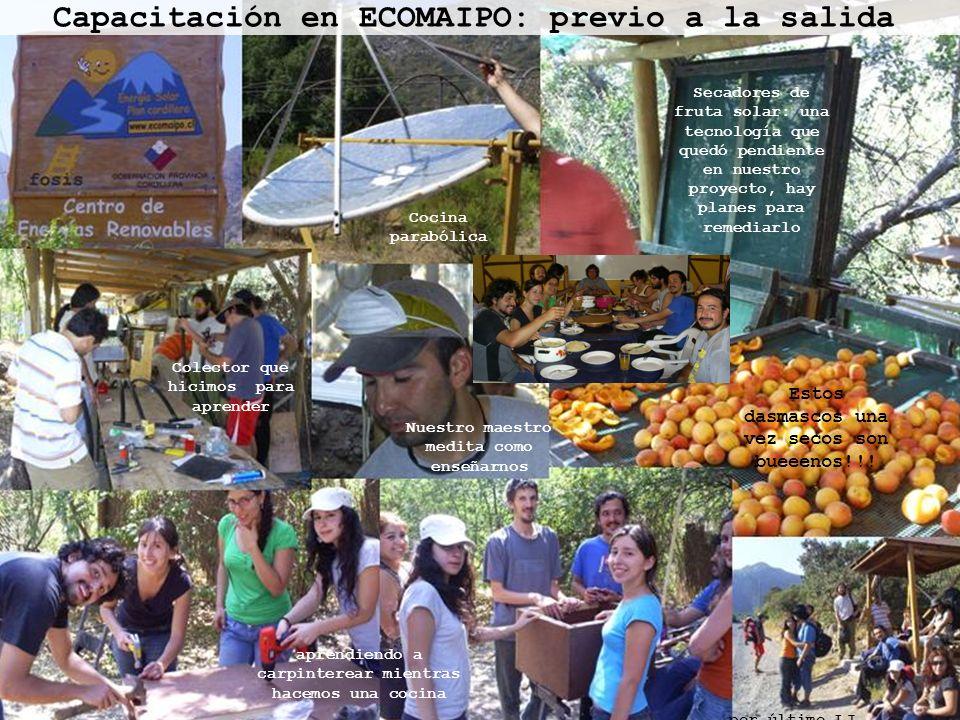 Capacitación en ECOMAIPO: previo a la salida Colector que hicimos para aprender Cocina parabólica Secadores de fruta solar: una tecnología que quedó p