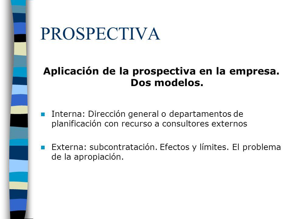 PROSPECTIVA Aplicación de la prospectiva en la empresa. Dos modelos. Interna: Dirección general o departamentos de planificación con recurso a consult