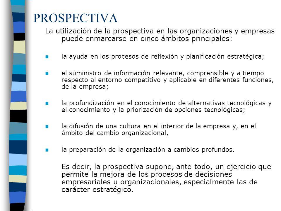 PROSPECTIVA La utilización de la prospectiva en las organizaciones y empresas puede enmarcarse en cinco ámbitos principales: la ayuda en los procesos