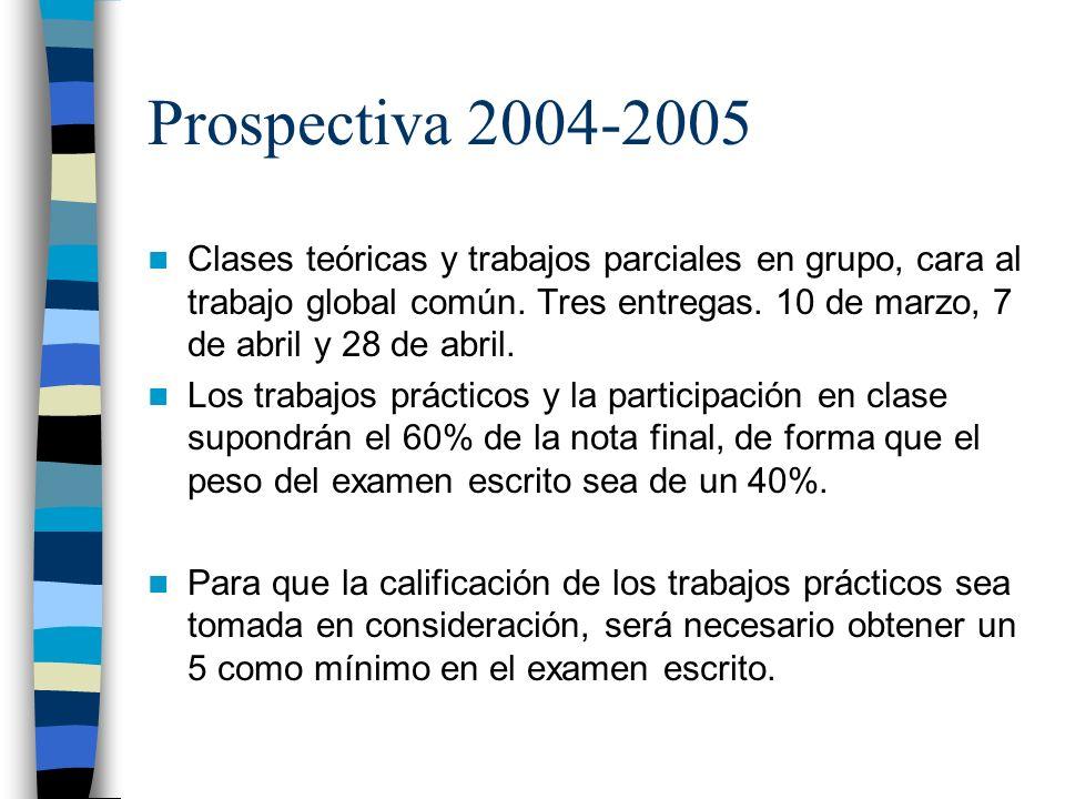Prospectiva 2004-2005 Clases teóricas y trabajos parciales en grupo, cara al trabajo global común. Tres entregas. 10 de marzo, 7 de abril y 28 de abri