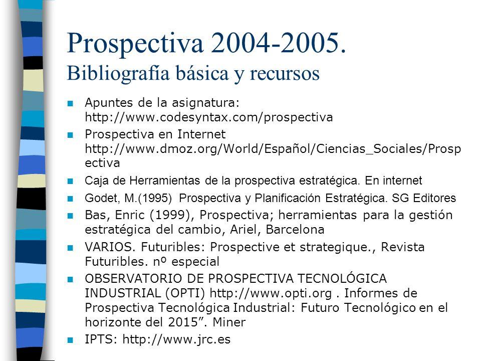 Prospectiva 2004-2005. Bibliografía básica y recursos Apuntes de la asignatura: http://www.codesyntax.com/prospectiva Prospectiva en Internet http://w
