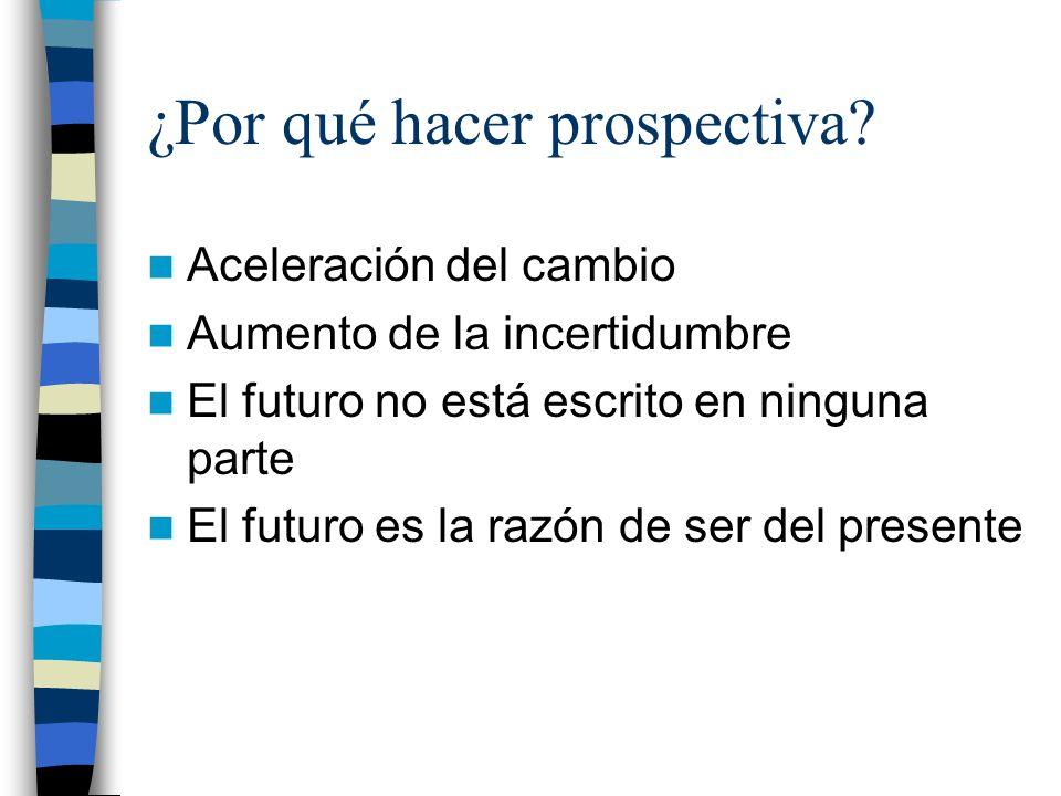 ¿Por qué hacer prospectiva? Aceleración del cambio Aumento de la incertidumbre El futuro no está escrito en ninguna parte El futuro es la razón de ser
