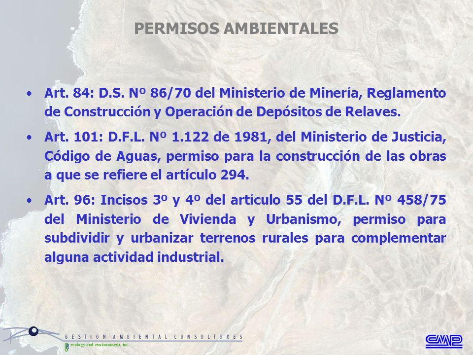 PERMISOS AMBIENTALES Art. 84: D.S.