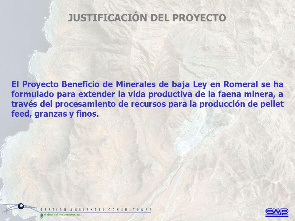 El Proyecto Beneficio de Minerales de baja Ley en Romeral se ha formulado para extender la vida productiva de la faena minera, a través del procesamiento de recursos para la producción de pellet feed, granzas y finos.