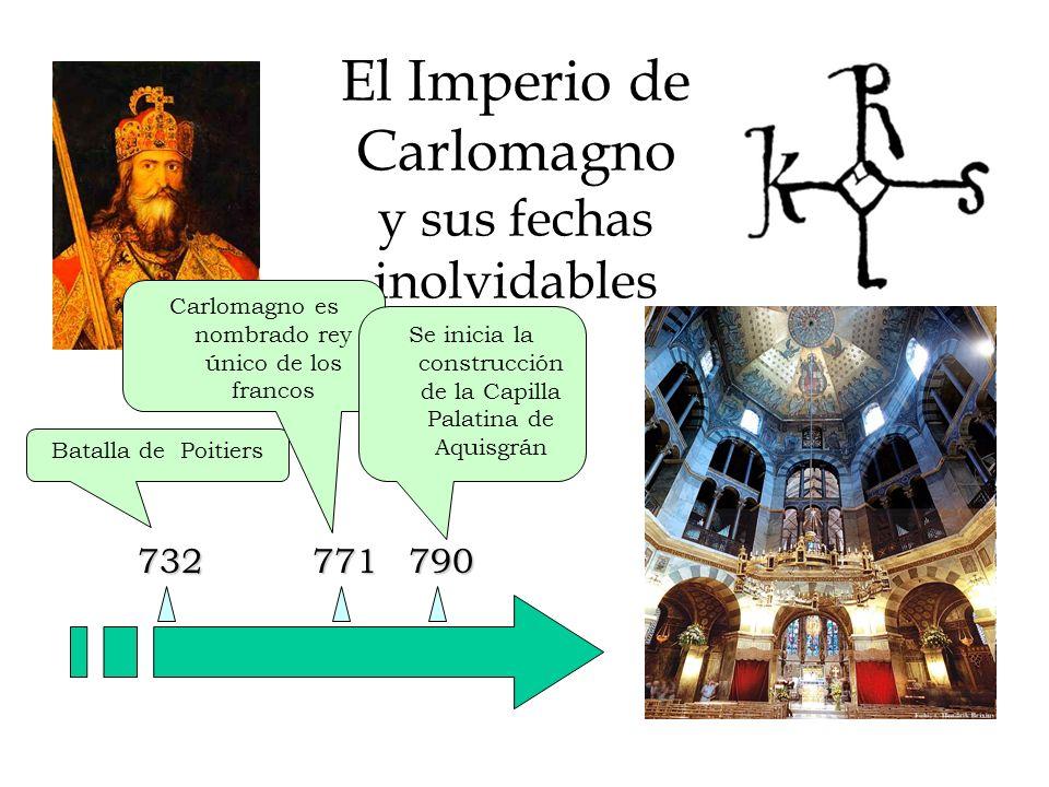 El Imperio de Carlomagno y sus fechas inolvidables 732 Batalla de Poitiers 771800 Carlomagno es nombrado rey único de los francos Carlomagno es coronado emperador por el Papa León III en Roma Se inicia la construcción de la Capilla Palatina de Aquisgrán 790