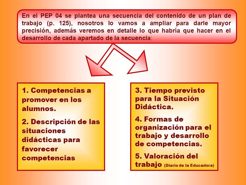 En el PEP 04 se plantea una secuencia del contenido de un plan de trabajo (p. 125), nosotros lo vamos a ampliar para darle mayor precisión, además ver