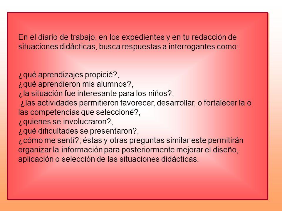 En el diario de trabajo, en los expedientes y en tu redacción de situaciones didácticas, busca respuestas a interrogantes como: ¿qué aprendizajes prop