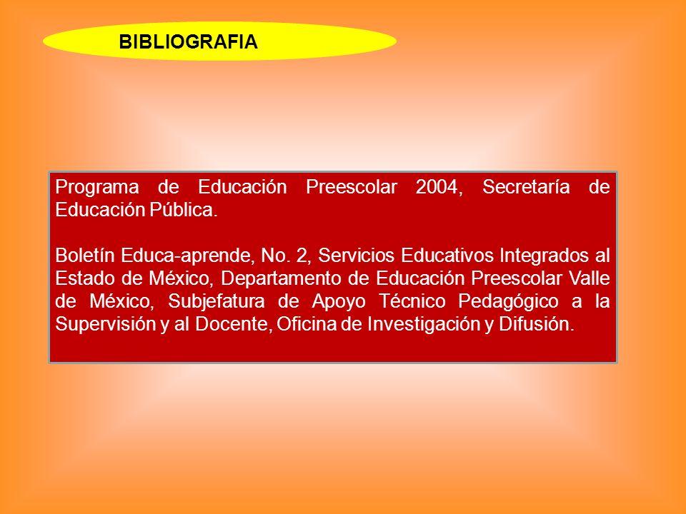 BIBLIOGRAFIA Programa de Educación Preescolar 2004, Secretaría de Educación Pública. Boletín Educa-aprende, No. 2, Servicios Educativos Integrados al