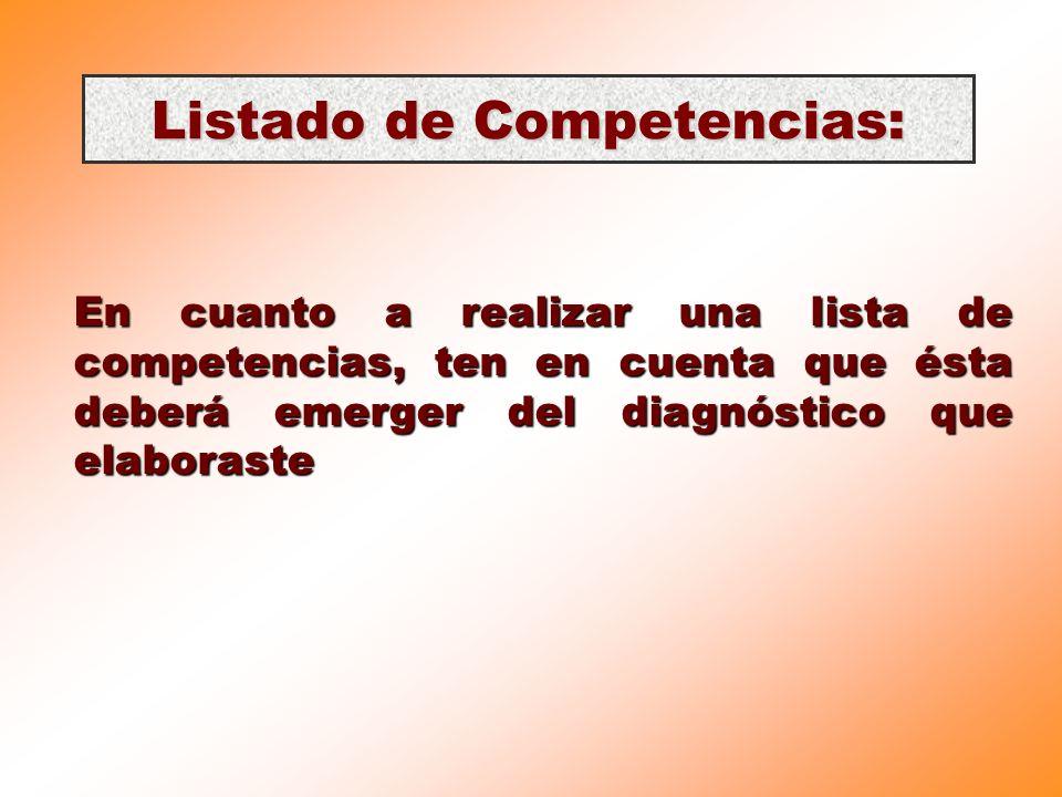 Listado de Competencias: En cuanto a realizar una lista de competencias, ten en cuenta que ésta deberá emerger del diagnóstico que elaboraste