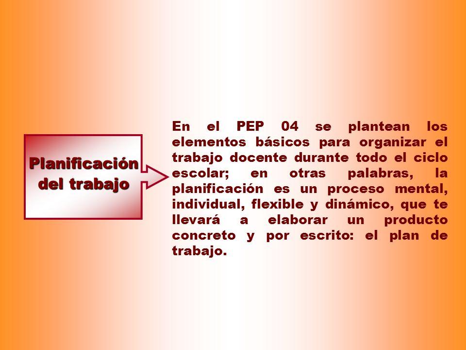 Planificación del trabajo En el PEP 04 se plantean los elementos básicos para organizar el trabajo docente durante todo el ciclo escolar; en otras pal