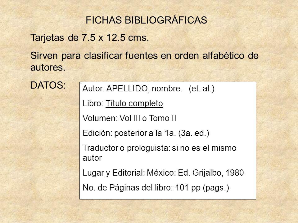 FICHAS BIBLIOGRÁFICAS Tarjetas de 7.5 x 12.5 cms.
