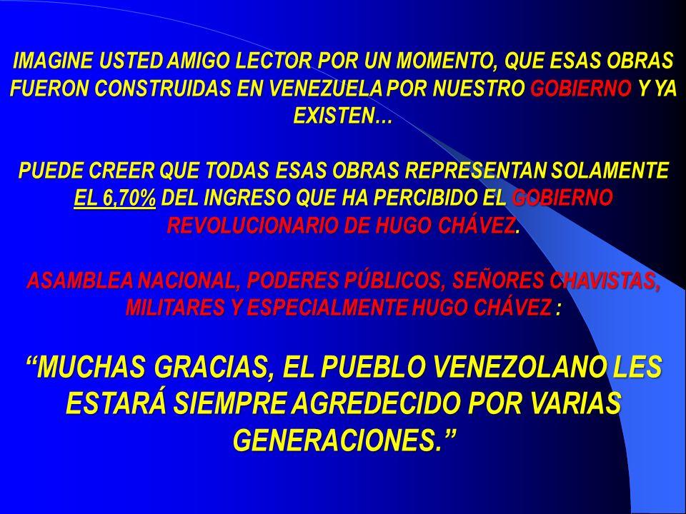 IMAGINE USTED AMIGO LECTOR POR UN MOMENTO, QUE ESAS OBRAS FUERON CONSTRUIDAS EN VENEZUELA POR NUESTRO GOBIERNO GOBIERNO Y YA EXISTEN… PUEDE CREER QUE TODAS ESAS OBRAS REPRESENTAN SOLAMENTE EL 6,70% 6,70% DEL INGRESO QUE HA PERCIBIDO EL GOBIERNO REVOLUCIONARIO DE HUGO CHÁVEZ.