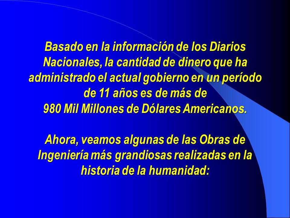 Basado en la información de los Diarios Nacionales, la cantidad de dinero que ha administrado el actual gobierno en un período de 11 años es de más de 980 Mil Millones de Dólares Americanos.