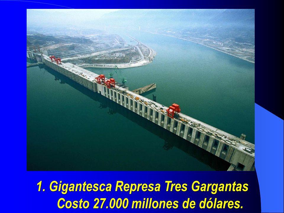 Descripción: El dique tiene un embalse de 660 kilómetros y una capacidad de 39.300 millones de metros cúbicos, para dejar lugar al agua encerrada, que se elevó hasta más de 120 metros por encima de su nivel natural.