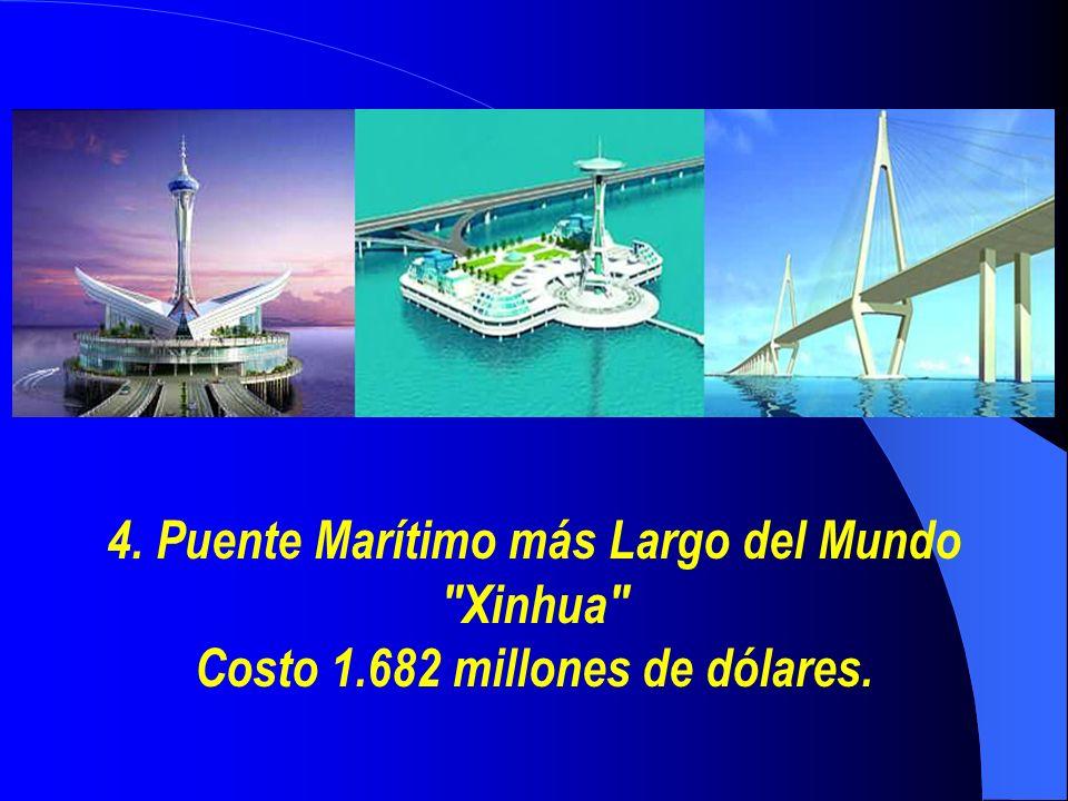 4. Puente Marítimo más Largo del Mundo Xinhua Costo 1.682 millones de dólares.