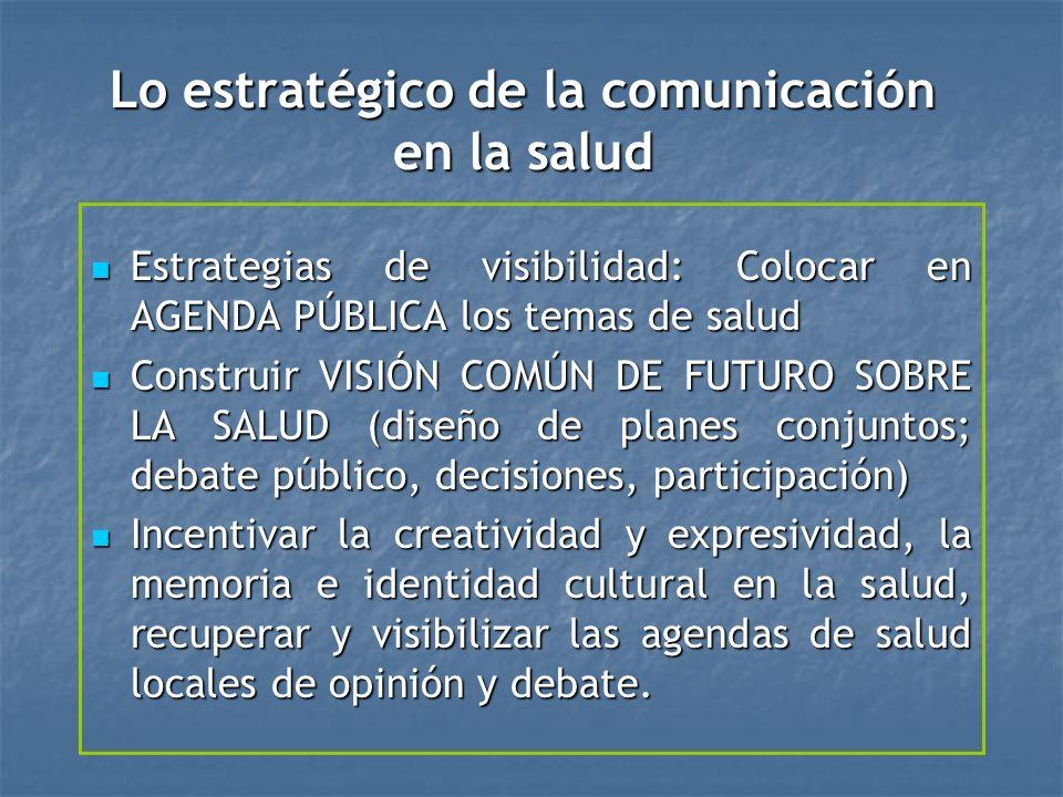 Lo estratégico de la comunicación en la salud Estrategias de visibilidad: Colocar en AGENDA PÚBLICA los temas de salud Estrategias de visibilidad: Colocar en AGENDA PÚBLICA los temas de salud Construir VISIÓN COMÚN DE FUTURO SOBRE LA SALUD (diseño de planes conjuntos; debate público, decisiones, participación) Construir VISIÓN COMÚN DE FUTURO SOBRE LA SALUD (diseño de planes conjuntos; debate público, decisiones, participación) Incentivar la creatividad y expresividad, la memoria e identidad cultural en la salud, recuperar y visibilizar las agendas de salud locales de opinión y debate.