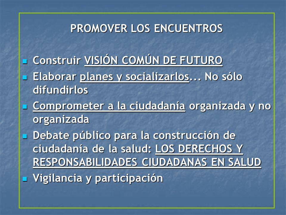 PROMOVER LOS ENCUENTROS Construir VISIÓN COMÚN DE FUTURO Construir VISIÓN COMÚN DE FUTURO Elaborar planes y socializarlos... No sólo difundirlos Elabo