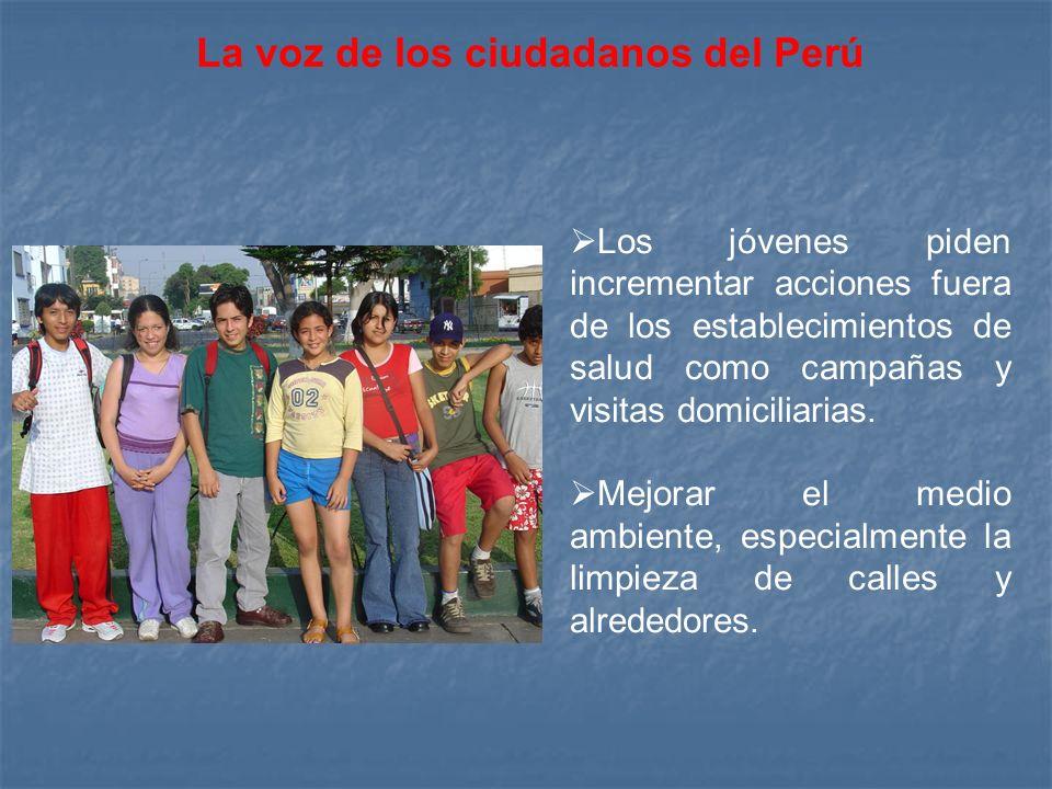 Los jóvenes piden incrementar acciones fuera de los establecimientos de salud como campañas y visitas domiciliarias.