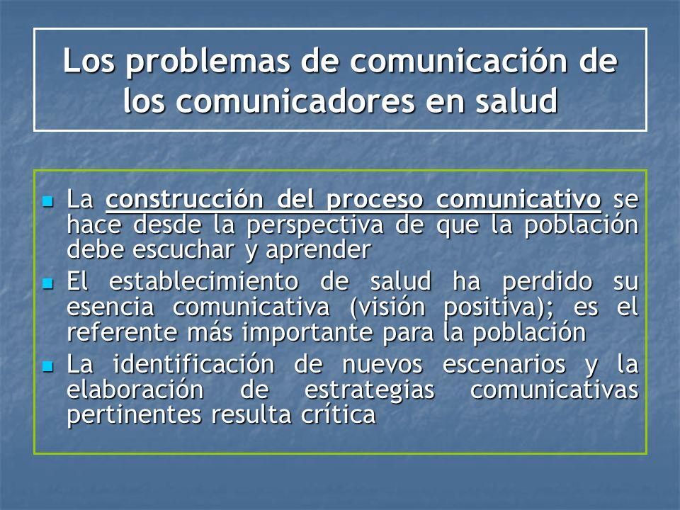 Los problemas de comunicación de los comunicadores en salud La construcción del proceso comunicativo se hace desde la perspectiva de que la población