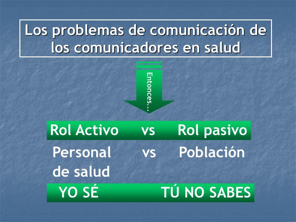 Los problemas de comunicación de los comunicadores en salud Entonces... Rol Activo vs Rol pasivo Personal vs Población de salud YO SÉ TÚ NO SABES