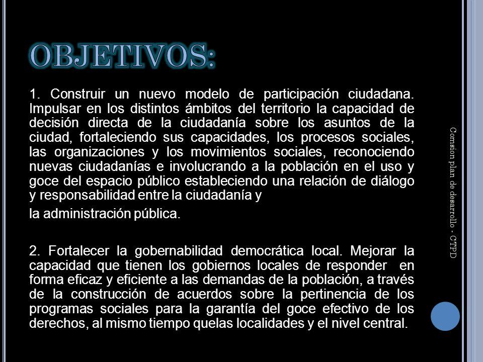 1. Construir un nuevo modelo de participación ciudadana.