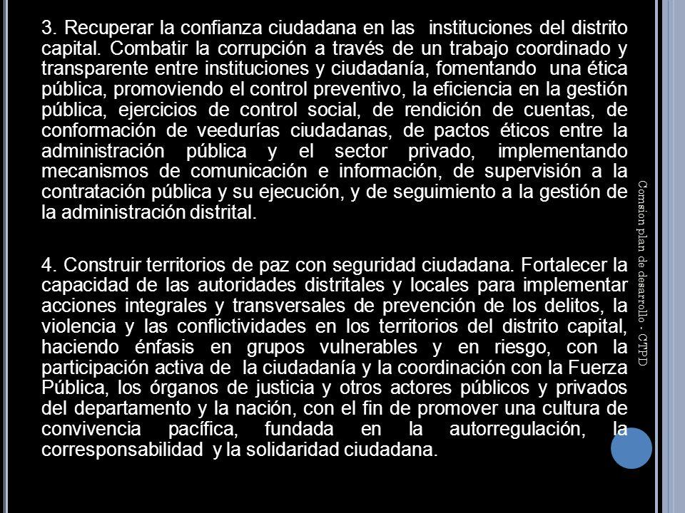 3. Recuperar la confianza ciudadana en las instituciones del distrito capital.