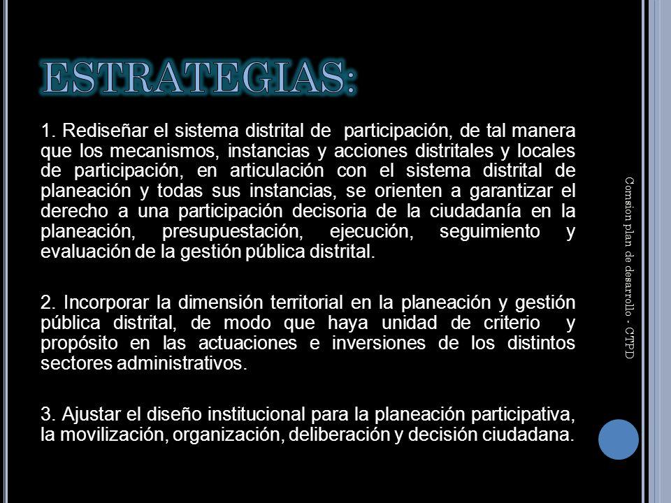 1. Rediseñar el sistema distrital de participación, de tal manera que los mecanismos, instancias y acciones distritales y locales de participación, en
