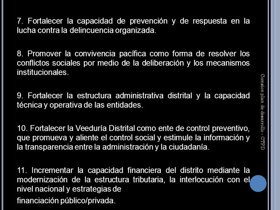 7. Fortalecer la capacidad de prevención y de respuesta en la lucha contra la delincuencia organizada. 8. Promover la convivencia pacífica como forma