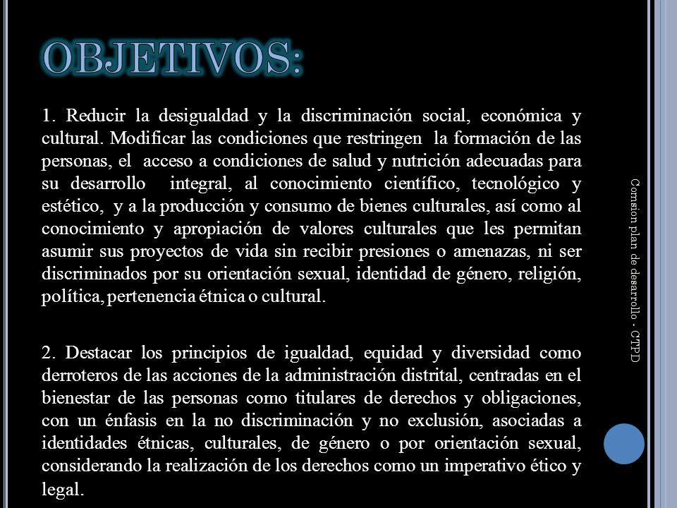 1. Reducir la desigualdad y la discriminación social, económica y cultural.